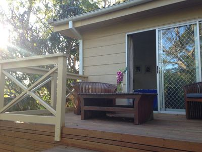 Lovely backyard area with easy access to house and and master bedroom