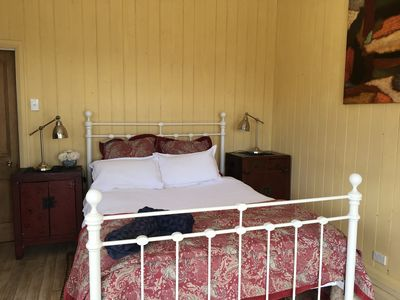 Bedroom with comfortable queen bed and great linen