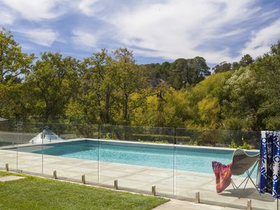Terrace with pool overlooking Coliban river, River House Lauriston