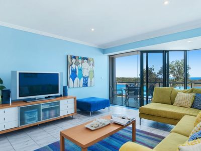 Stunning views of the beach and ocean from the living room and balcony