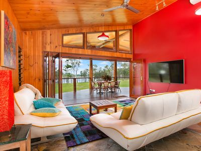 Lounge room facing Lake Tinaroo