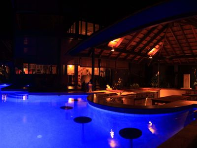 Beautiful pool bar at night
