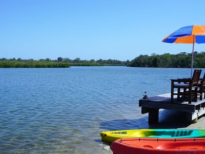 Enjoy the riverside location, private jetty & kayaks at The Loft, Noosa Sound