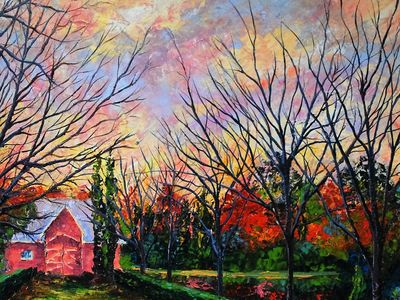 my painting of the barn on the property