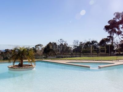 Private resort style pool with spa & views over the treetops to Port Phillip Bay