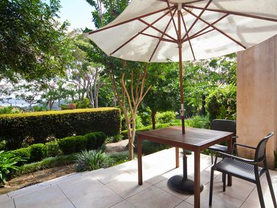 The Studio terrace: with an outlook to Pittwater and Ku Ring Gai National Park