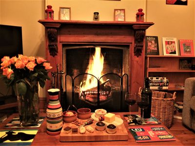 Romantic open fire in winter