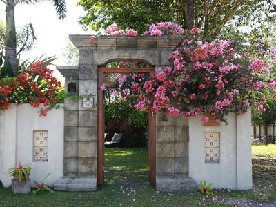 Front gate of garden compound