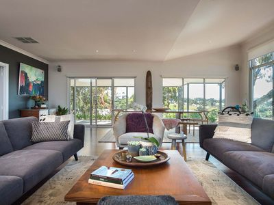 living area with plush comfortable seating for 8 guests