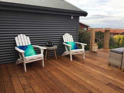 Upstairs decking area.