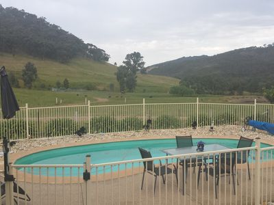 Our mineral solar heated pool overlooking the farm.