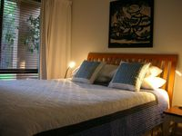 Queen bed downstairs adjoining twin