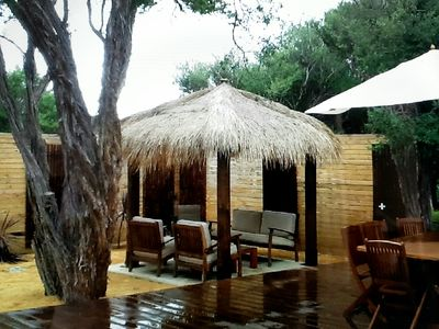 Outdoor Bali hut and entertaining area
