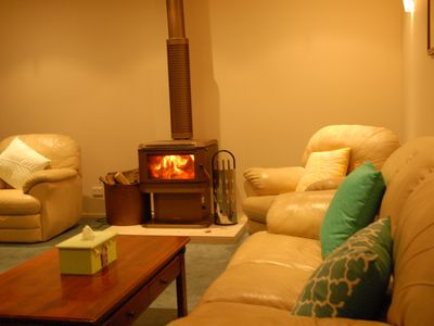 Comfortable lounge in winter by the fire