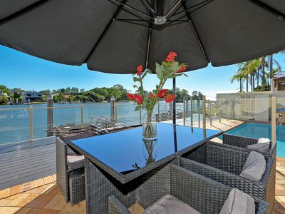 Magnificent riverside views and the second of two outdoor dining areas