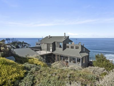 view of the house showing its position overlooking the ocean