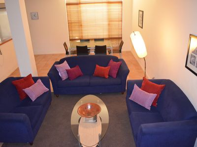 living area with big screen tv 2nd tv in mezzanine area