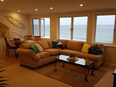 lounge area with a panoramic view over the ocean and beaches