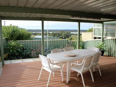 Glorious fully fenced and covered deck area with fantastic view of the lakes
