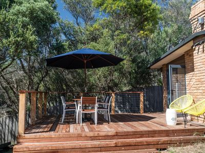 The sun-drenched deck is perfect for relaxing all year round
