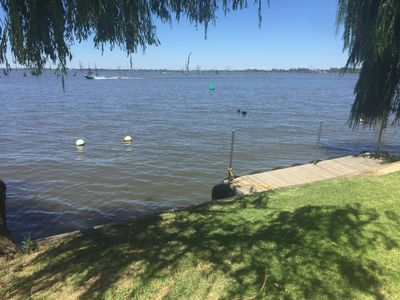 Property lake frontage with jetty