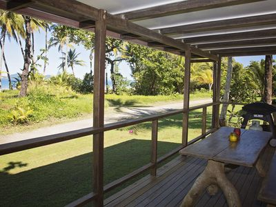Bev's on the Beach - Picture yourself enjoying a meal on this verandah