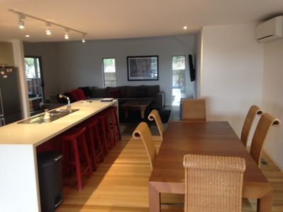 open plan living in the lounge and dining areas