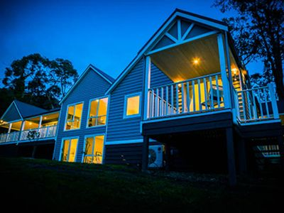 The Lodge at night. Large luxury property with two separate guest suites
