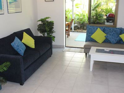 Quiet , cool comfort in the fully airconditioned Lounge, with patio access