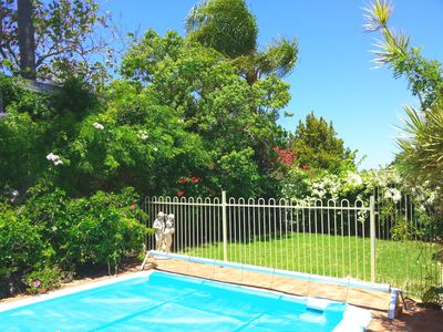 Lish private garden and pool.