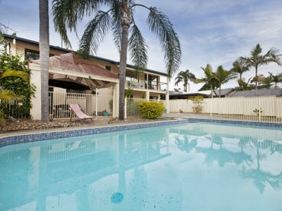 Spacious outdoor area and pool, perfect for a relaxing arvo or post-beach swim