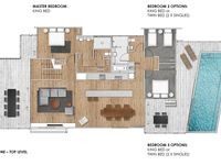 Top Level – Open plan living, 3 bedrooms, pool and two large decks