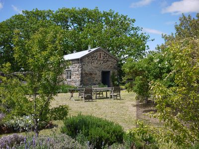 Garden and stone barn view from house