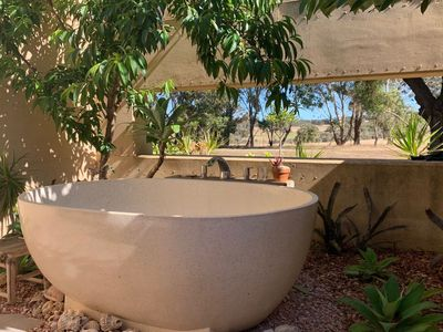 Tranquil Outdoor bath setting