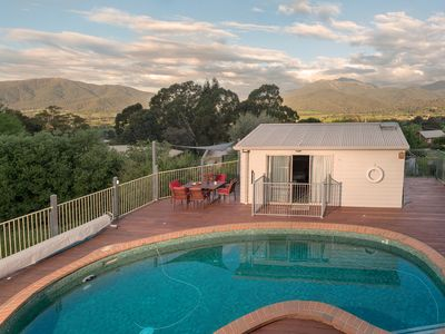 View of Mount Bogong from main house decking.