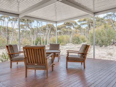 Large private deck with view of native bush
