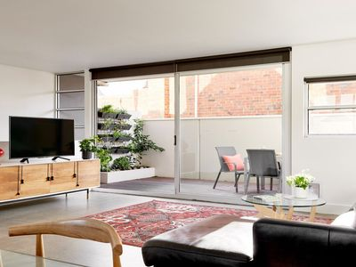 spacious living area and courtyard