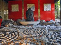 Buddah water feature at entrance