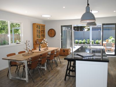 Newly renovated country kitchen decorated with French antique furniture