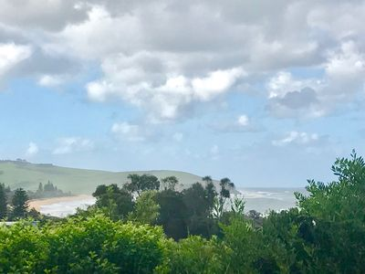 Ocean view from under cover balcony in the backyard