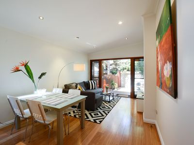Freshly renovated open-plan living with aircon and brand new smart tv