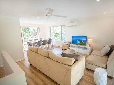"Upstairs lounge room- Aircon, 4k 55"" Smart TV, Netflix, Youtube, FREE WIFI, fan."
