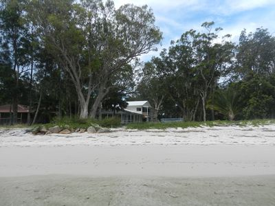 Beach looking to the house - you can see the high tide mark in the wet sand