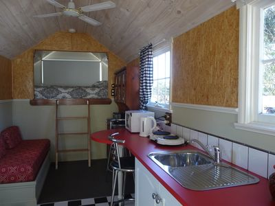 Inside of Trucki-in- motel cabin