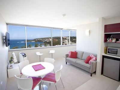 Panoramic view to world famous Shelly beach from lounge and kitchen area