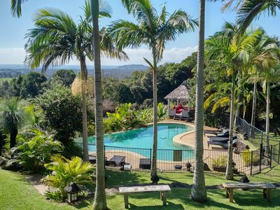 View from the house over the pool and Byron Lighthouse
