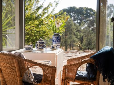 Tea by the French windows in Oscars villa with beautiful country views