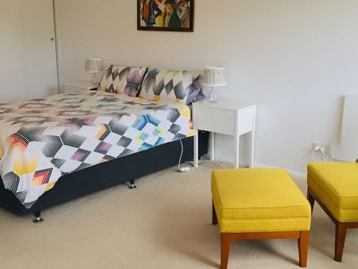 Large bedroom with a queen bed.