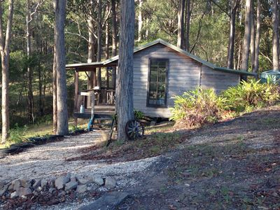 Wooden cabin in gum trees 75 metres from occupied main farmhouse and art studio