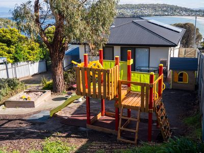 Awesome kids play ground right in your back yard. And the beach 1 minute away